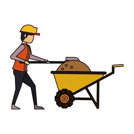 Bauingenieurwesen, Arbeiter, die schwere Arbeit mit Schutzausrüstung im Baustellenkarikaturvektor-Grafikdesign machen