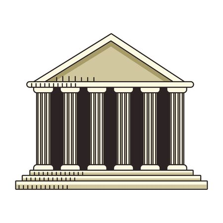Pantheon of rome icon over white background, vector illustration