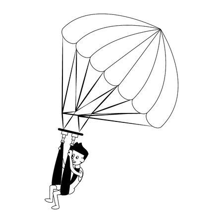 Water sport parasailing athlete cartoon isolated vector illustration graphic design Illustration