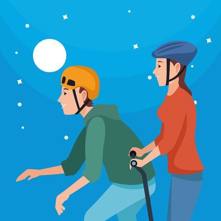 Young people with skateboard and electric scooter at night with moon and stars ,vector illustration graphic design. Çizim