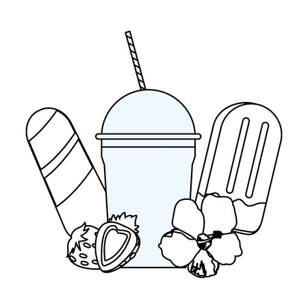 Milkshake cup and ice creams with strawberries and flower vector illustration graphic design