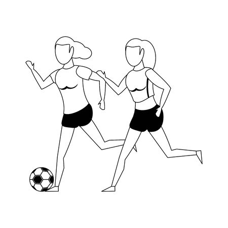 fitness women training soccer sport cartoons isolated vector illustration graphic design
