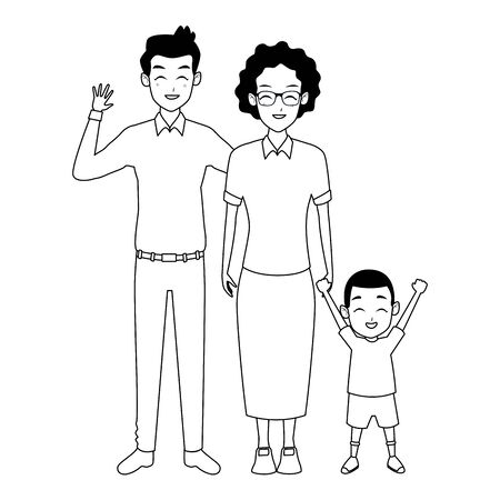 Family father and grandmother hand of with afro boy vector illustration graphic design Illustration