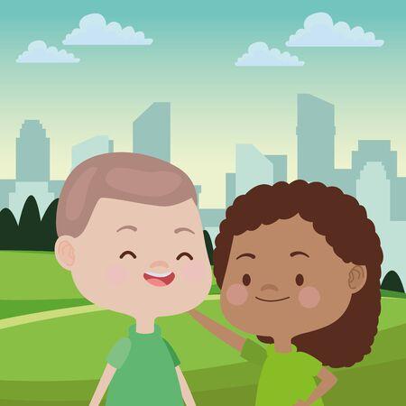 Niños felices niño y niña sonriendo y jugando en el parque sobre paisaje urbano paisaje urbano, diseño gráfico de ilustración vectorial.
