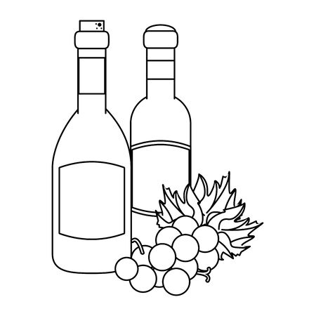 bunch of grapes and wine bottles over white background, vector illustration