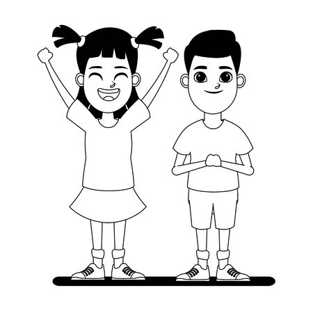 two children girl with hands up and tails and blonde boy profile picture cartoon character portrait in black and white vector illustration graphic design