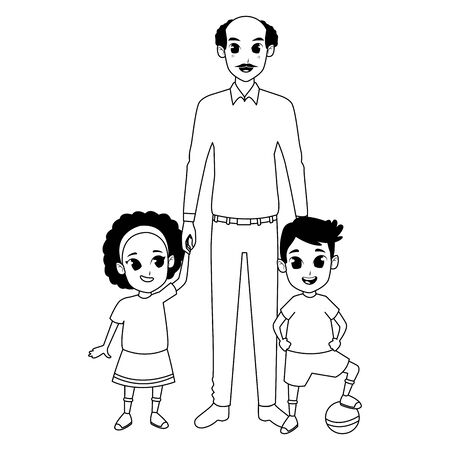 Family grandfather with grandson and granddaughter playing with ball vector illustration graphic design