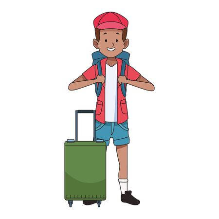 cartoon tourist with backpack and suitcase icon over white background, vector illustration