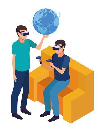 virtual reality technology, young men friends living a modern digital experience with headset glassesand joysticks cartoon vector illustration graphic design Çizim
