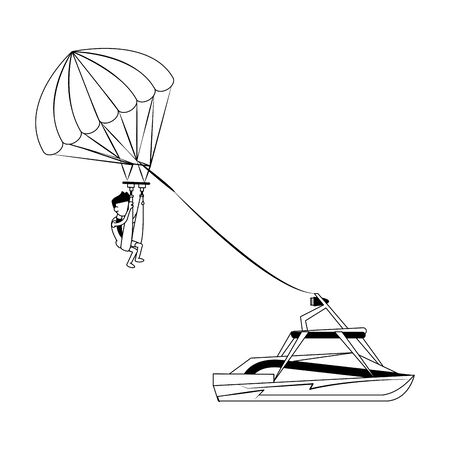 Water sport parasailing athlete with boat cartoon isolated vector illustration graphic design Illustration