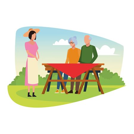 avatar woman and old couple in a picnic table outdoor, colorful design , vector illustration