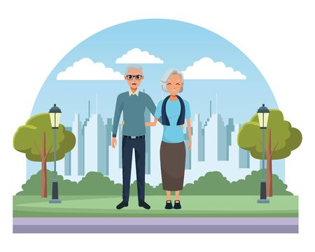 Elderly couple granparents grandmother and grandfather on city park scenery background ,vector illustration graphic design.