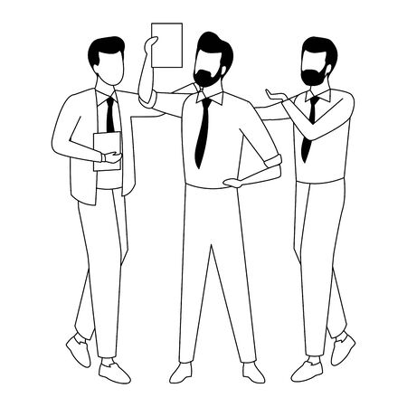 Businessmen coworkers with office clipboard documents in black and white isolated faceless avatar vector illustration graphic design Ilustracja