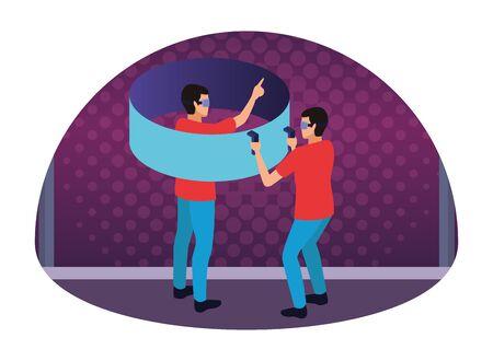 virtual reality technology, young men friends living a modern digital experience with headset glassesand joysticks cartoon on purple digital background ,vector illustration. Çizim