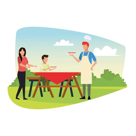avatar man and woman with a boy eating in a picnic table outdoor, colorful design , vector illustration