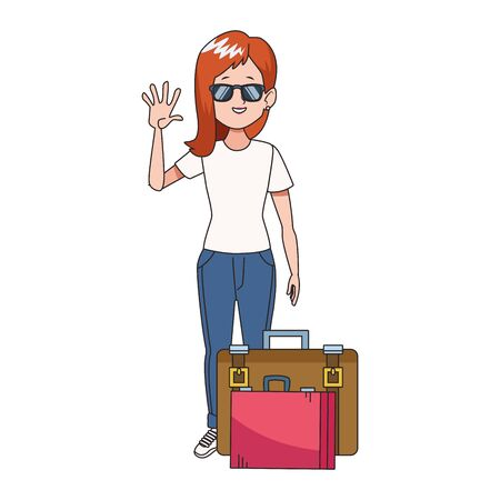 cartoon woman with sunglasses and standing with travel suitcases icon over white background, colorful design. vector illustration