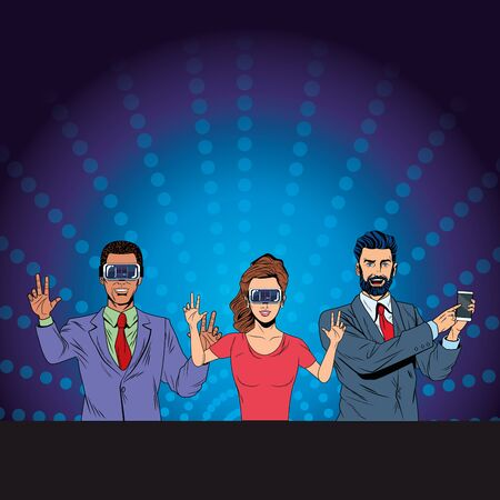 group of people with virtual reality headset and cellphone avatar cartoon character with pop art background vector illustration graphic design Çizim