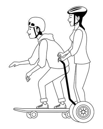 Young people with skateboard and electric scooter ,vector illustration graphic design. Stok Fotoğraf - 133186740