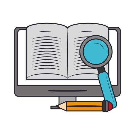 computer with magnifying glass and pencil over white background, vector illustration 일러스트