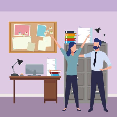 Successful businesswoman and businessman partners inside office with computer and cabinet background, vector illustration.