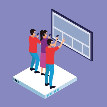 Friends playing with virtual reality glasses and gameapads with screen hologram on purple background vector illustration graphic design