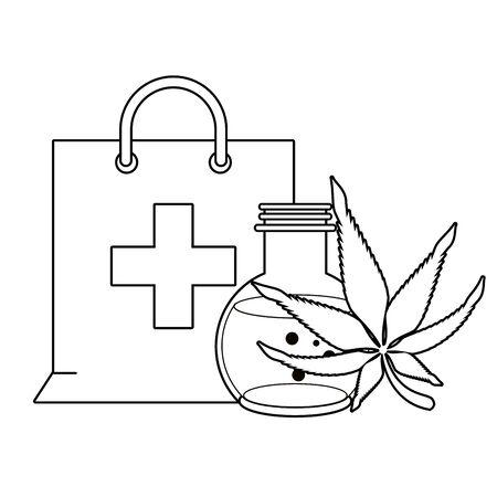 cannabis martihuana medical marijuana medicine sativa hemp oil bottle cartoon vector illustration graphic design Иллюстрация