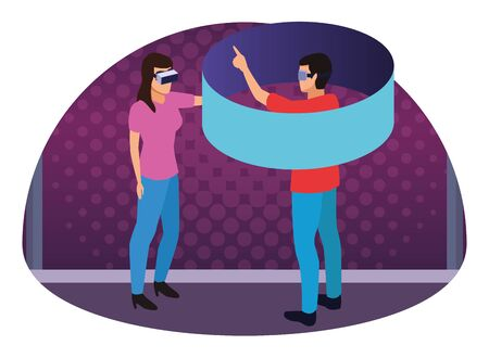 virtual reality technology, young couple living a modern digital experience with headset glasses touching screen cartoon on purple digital background ,vector illustration.