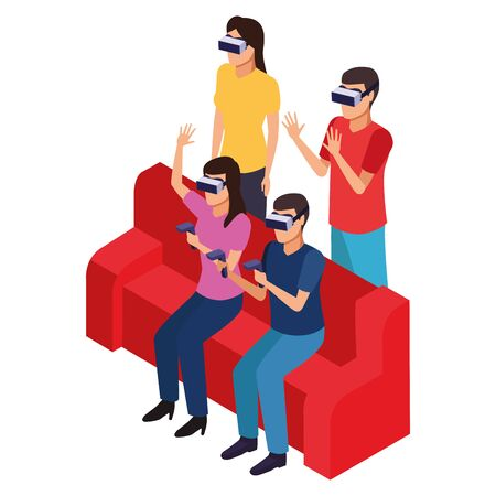 virtual reality technology, friends living a modern digital experience with headset glassesand joysticks on couch cartoon vector illustration graphic design