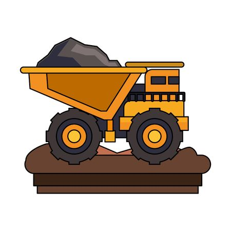 mining cargo truck vehicle machinery isolated sideview on ground vector illustration graphic design Stock Vector - 133187311
