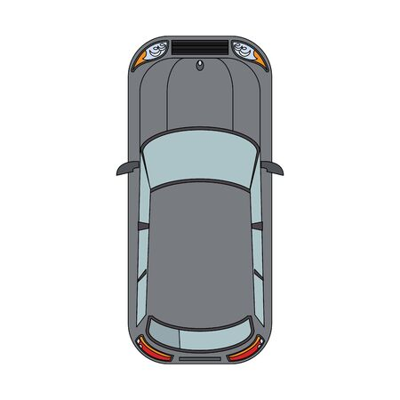 top view of classic car over white background, vector illustration Banque d'images - 133188964