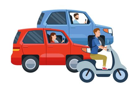 Vehicles and motorcycle drivers riding with helmet in the traffic vector illustration graphic design. Banque d'images - 133188991
