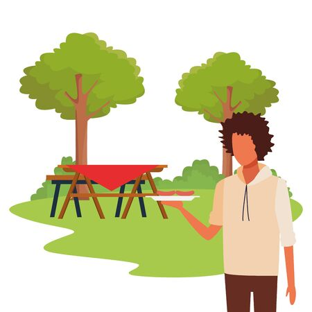 avatar man with tray with sausages and picnic table outdoor background, colorful design , vector illustration