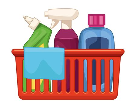cleaning and hygiene equipment liquid soap, spray cleaner, cleaning shampoo into a cleanliness basket with a cloth icon cartoon vector illustration graphic design