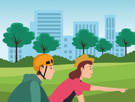 Young friends couple riding on bikes cartoon in the city urban scenery background ,vector illustration graphic design. Banque d'images - 133198655