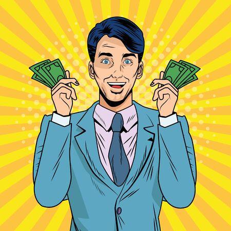 elegant businessman with bills dollars pop art style vector illustration design