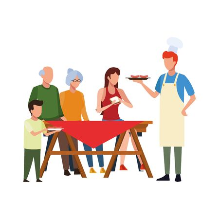 happy family eating on a picnic table icon over white background, vector illustration