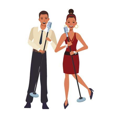 cartoon singers man and woman over white background, colorful design. vector illustration Standard-Bild - 133236892