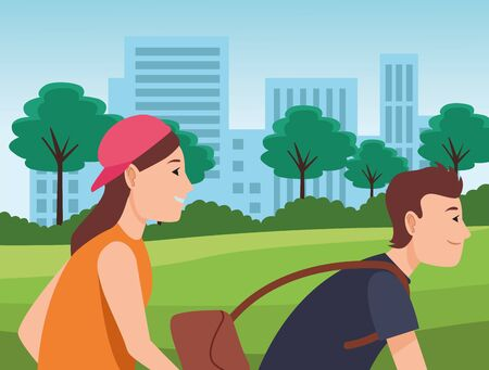 Young friends couple riding on bikes cartoon in the city urban scenery background ,vector illustration graphic design. Banque d'images - 133199742