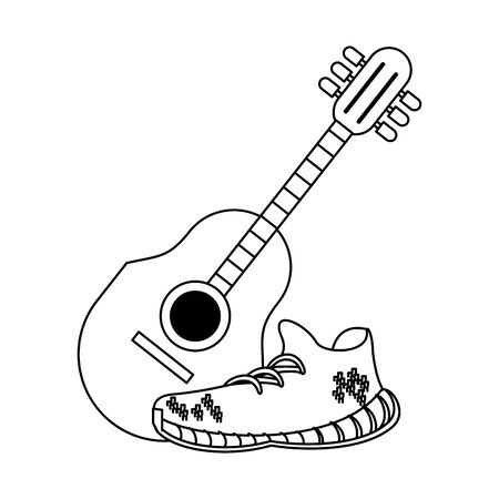 acoustic guitar and white sneakers isolated symbol Vector design illustration Ilustração