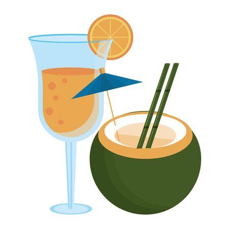 Summer coconut and glass cocktails cartoon isolated vector illustration graphic design Illusztráció