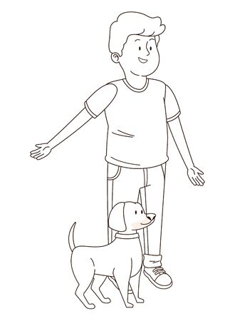 Teenager smiling and walking the dog cartoon isolated,vector illustration graphic design.