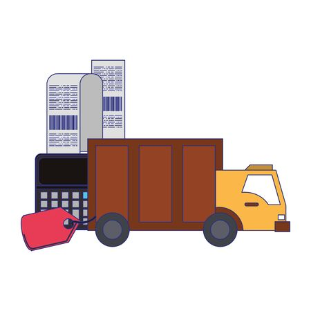 Delivery truck with shopping tag and calculator with bill symbols vector illustration graphic design 일러스트