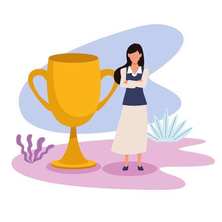 business professional executive successful work, woman working for project idea with success trophy cartoon vector illustration graphic design Illusztráció