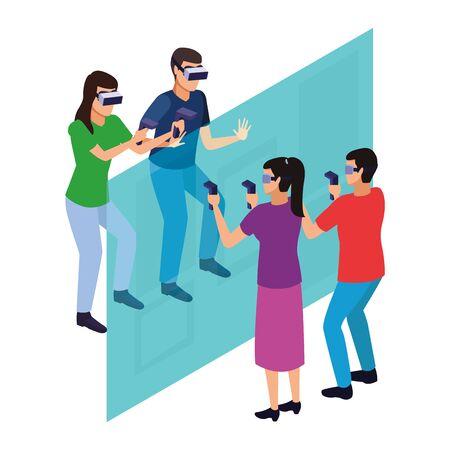 virtual reality technology, friends living a modern digital experience with headset glassesand joysticks cartoon vector illustration graphic design
