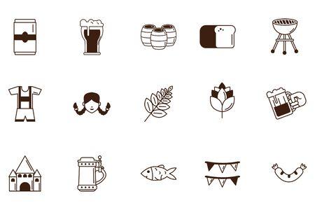 bundle of oktoberfest celebration set icons vector illustration design Illusztráció