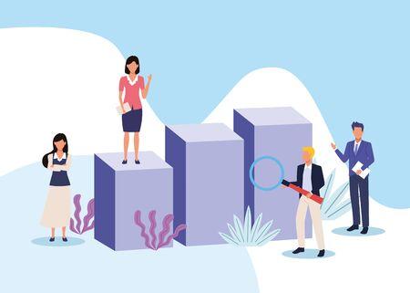 business professional executive successful teamwork, people working for project presentation cartoon vector illustration graphic design Illusztráció