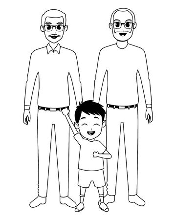 Family grandparents hand of with grandson cartoons