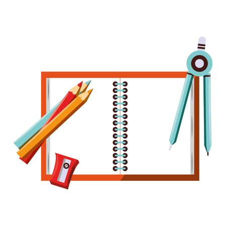 Back to school education notebook and compass with pencils and sharpener cartoons vector illustration graphic design