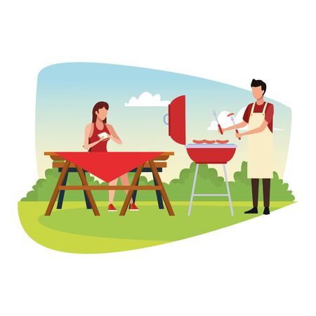 avatar man cooking in a bbq grill and woman sitting in a picnic table at outdoor over white background, colorful design , vector illustration
