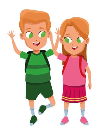 adorable cute children, girl with a boy school students wearing backpack happy childhood cartoon vector illustration graphic design